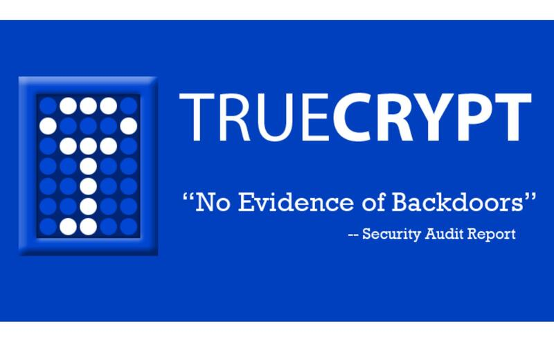 A picture stating: TrueCrypt, no evidence of backdoors.
