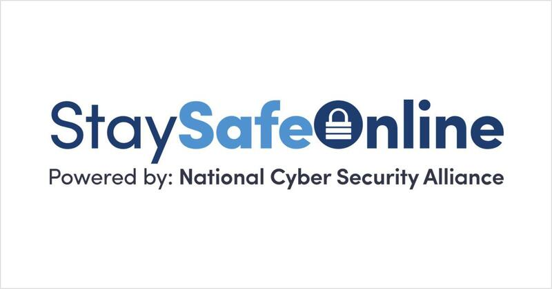 'Stay safe online' written on a white background.